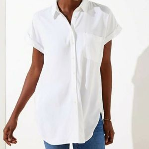 Loft Button Down White Tunic with Pockets XXL